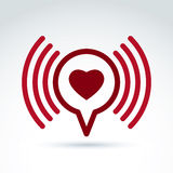 Heart over the speech bubble icon, vector conceptual stylish royalty free illustration