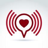 Heart over the speech bubble icon, vector conceptual stylish Royalty Free Stock Photos
