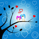 Heart Owls Indicates Valentine Day And Environment Stock Images