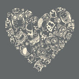 Heart Owls pattern. Template for design romantic greeting card Royalty Free Stock Photos