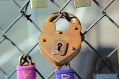 Heart padlock Stock Photography