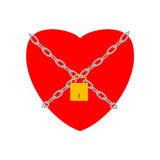 Heart with padlock. Heart closed with chains and padlock Royalty Free Stock Photos