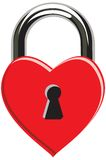 Heart padlock. A red heart for loked valentines Stock Photos