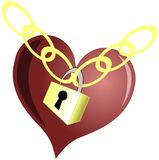 Isolated stylized heart with padlock. Artistic illustration representing a heart, symbol of love and a padlock, symbol of unity, indicating that love unites the Royalty Free Stock Photos