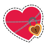 Heart with padlock. Heart with chains and padlock icon over white background. colorful design. vector illustration Stock Photography
