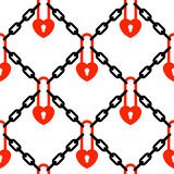 Heart padlock and chains network pattern Royalty Free Stock Photography