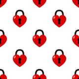 Heart Padlock Flat Icon Seamless Pattern Royalty Free Stock Image