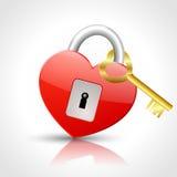 Heart - padlock with golden key Royalty Free Stock Image