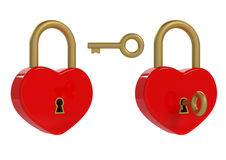 Heart padlock and key Royalty Free Stock Photos