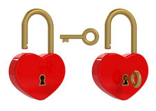 Heart padlock and key Royalty Free Stock Photography