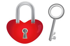 Heart with padlock and key. Illustration on heart-shaped padlock and key isolated on white Royalty Free Stock Photo
