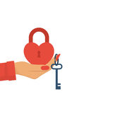Heart padlock and key Stock Images