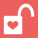Heart Padlock open in. Flat Icon. Heart Padlock open in. Icon Flat Design Vector Illustration with Love Symbol. Lock with heart shape eps10 Royalty Free Stock Images