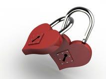 Heart padlocks. Two joined padlocks in heart shape on white background - 3d render Royalty Free Stock Photos
