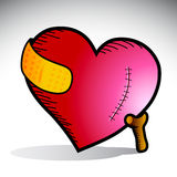 Heart pain. Illustration of a heart with scar and yellow bandage supported by a cane Royalty Free Stock Photo