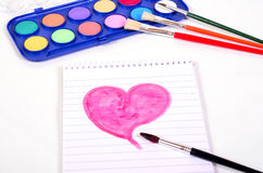 Heart paint brush Stock Image
