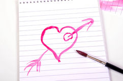 Heart paint brush Stock Image