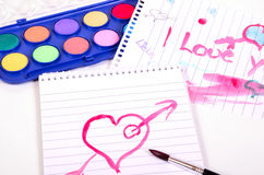 Heart paint brush Royalty Free Stock Photography