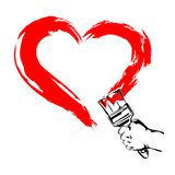 Heart Paint brush Hand vector illustration Royalty Free Stock Photography