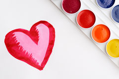 Heart and paintbox Stock Images