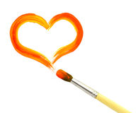Heart and paintbrush Stock Image