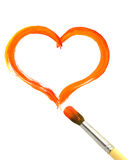 Heart and paintbrush Royalty Free Stock Photos