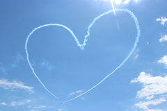 Heart painted by airplanes in the sky stock image