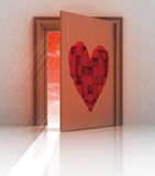 Heart painted on back of closed door. Illustration Stock Image