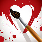 Heart painted with brush. Stock Photography
