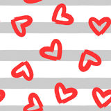 Heart painted with a brush on striped background. Seamless pattern. Grunge, sketch. Royalty Free Stock Photography