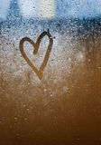 Heart painted on glass. Stock Photography