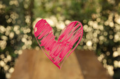 heart painted on glass. Stock Photos