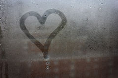 Heart painted on glass Royalty Free Stock Images