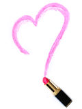 Heart painted lipstick stock images
