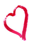 Heart painted with lipstick stock images