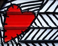 Heart painted on metal Stock Photos