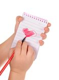 Heart painted in the notebook Royalty Free Stock Images