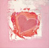 Heart painted One. Red Heart painted in acryl stock illustration