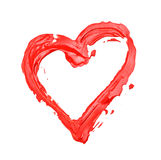 Heart painted outline. On white royalty free stock photography