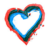 Heart painted outline. On white royalty free stock images