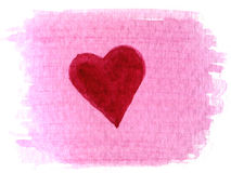 Heart painted over watercolor blotch Stock Photo