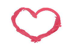 Heart painted by pink  lipstic Royalty Free Stock Images