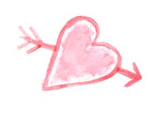 Heart Painting. Heart shape with arrow through it painted on white Stock Images