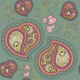 Heart paisley seamless pattern. Cute ornamental colorful heart paisley seamless pattern Royalty Free Stock Photo