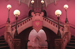 Heart palace interior. Inside queen of hearts palace in wonderland Royalty Free Stock Image