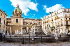 Fontana Pretoria in Palermo, Sicily, Italy Stock Images