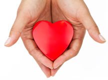 Heart on the palm. Love symbol Stock Photos
