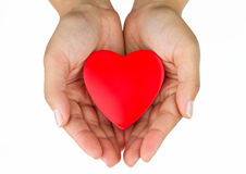 Heart on the palm. Love symbol Stock Images