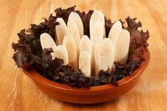 Heart of palm (palmito) on plate. Royalty Free Stock Photo