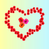 A heart of pansies Stock Photo